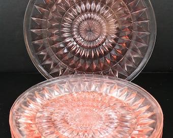 Five, Jeanette, Windsor aka Windsor Diamond, Pink 9 Inch Dinner Plates