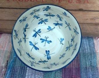 Blue dragonfly handmade ceramic bowl - stoneware bowl - big bowl - pottery serving bowl - vegetable  serving bowl - kitchen bowl - 1719