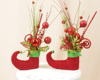 Elf Arrangements, Red and Green Elf Boots, Elf Centerpiece, Christmas Decoration, Holiday Decor, Christmas Elf, Holiday Decor
