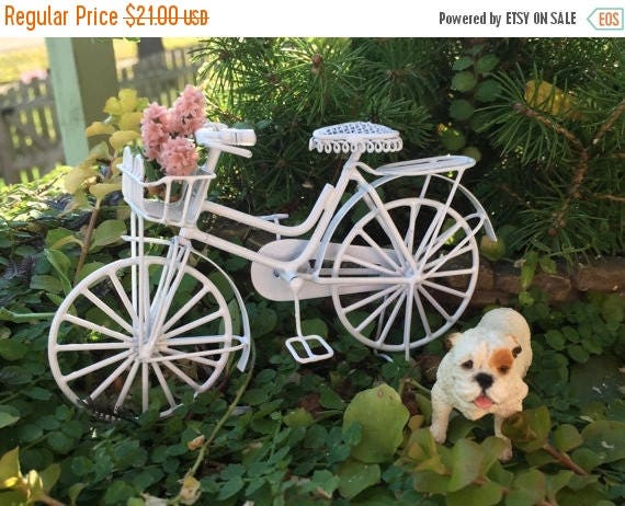 SALE Bicycle, Miniature Dollhouse Bike, White Metal With Basket and Book Rack, Dollhouse Miniatures, 1:12 Scale, Miniature Garden Outdoor De