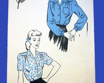 c. 1944 Uncut Blouse Pattern Advance 4328 Bust 38 Long and Short Sleeved Tailored Blouse Pattern 1940s Factory Folded Pattern
