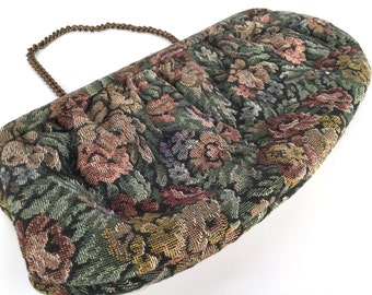 "Vintage 50s Floral Tapestry Clutch Purse, Rose, Green, Plum, Black, Convertible Chain Handle, Cotton, Metal, Black Satin Lining, 10"" x 5"""