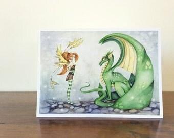 Fantasy Art Note Card - The Dragon Tamer - fairy. whimsical. cute. children. girl. green. fairy tale. greeting card.
