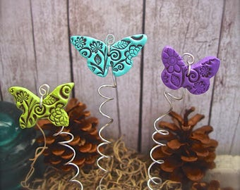 Butterfly Plant Stakes Set of 3 Polymer Clay Butterflies, Gift For Gardener, Fairy Garden Decor, Colorful Indoor or Outdoor Garden Art