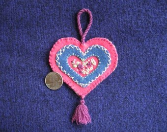 Embroidered floral wool felt heart ornament hot pink, blue and magenta with a sage green backing
