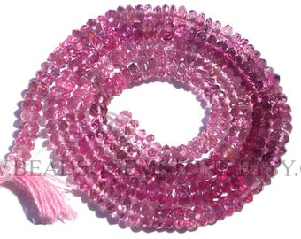 Pink Tourmaline Faceted Rondelle (Quality AA+) / 3.50 to 4.50 mm / 36 cm / TOUR-032
