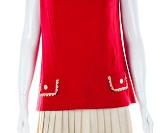 Lois Ann Jrs Dallas Red 60's Vintage Mod Dress - Size 14