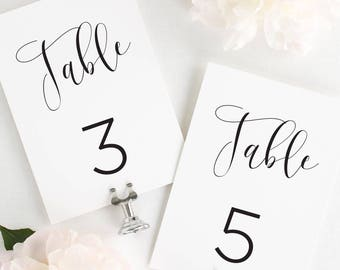 Flowing Calligraphy Table Numbers - 5x7""