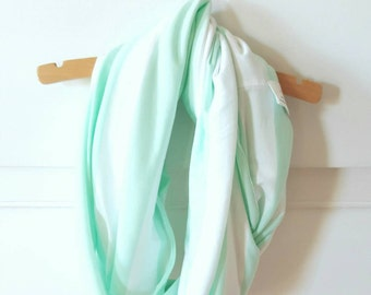 Breastfeeding Cover - Mint and White Stripe Scarf - Infinity Nursing Scarf - Nursing Scarf - New Mom Gift - Mothers Day Gift - Baby Shower