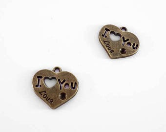 """2 Engraved """"I love you """" Charms: Antique Bronze Finish Charms for Bracelets"""
