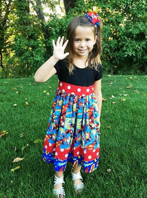 Super Girl Dress, Super Hero Dress, Comic Com Dress , Geek Dress, Birthday Super Hero, Dress-up, Children sizes