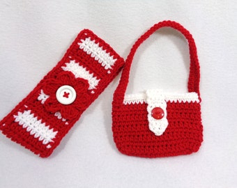 Christmas Headwarmer and Matching Purse, Red and White Headband and Purse, Christmas Present for Girl, Stocking Stuffer, Made to Order