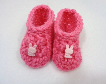 Pink Baby Slippers, Crochet Baby Booties, Baby Shower Gift, Simple Infant Shoe, Easter Gift for Newborn, Present for Baby, Bunny Slippers