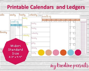 Instant Download Planner Pages, Weekly and Monthly Layouts, Bullet Journal Pages, Midori Inserts, Ledger Papers, Printables