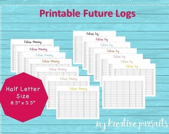 Half Letter Planner Printable, Calendex, Midori Inserts, Future Log, Traveler's Notebook Printable, Instant Download