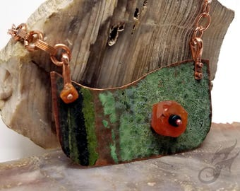 Hammered Verdigris Copper Necklace w/ Rough Carnelian & Agate, Riveted, Natural Green Patina, Repurposed Copper, City Hall Relics #N0686