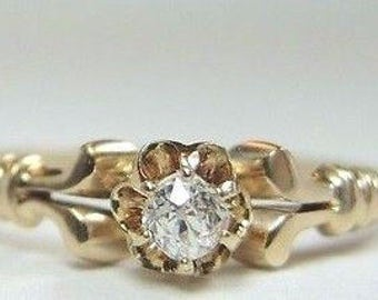 Victorian Vintage Diamond Yelow Gold Engagement Ring | RE-935