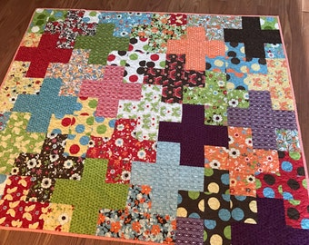Plus Quilt Baby or Lap in red, green, sage, brown, blue, yellow, orange, cream - gender neutral baby quilt