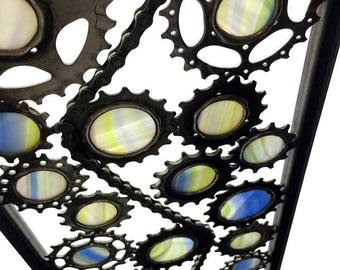 Upcycled Bicycle Sculpture Panel Called Tranquil - Bike Parts And Stained Glass Bicycle Art