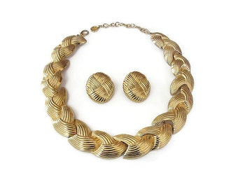 Vintage Givenchy Gold Ribbed Braided Necklace Earrings Set - Gold Tone, Wide Chunky, Vintage Necklace, Vintage Earrings, Givenchy Jewelry