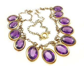 Art Deco Necklace Amethyst Glass Gems - Gold Filled, Open Back, Bib Style, Purple Necklace, Art Deco Jewelry, Antique Jewelry