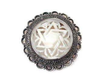 Jerusalem 950 Silver, Mother of Pearl, Star of David, Brooch Pendant Combo, Vintage Brooch, Vintage Pendant, Israeli Jewelry