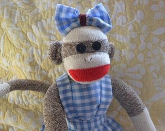 Dorothy Wizard of Oz Sock Monkey Doll