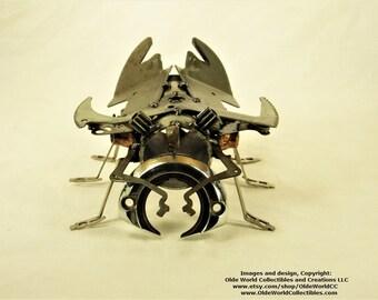Welded Steel Steampunk Sculpture ~ Pinchy beetle