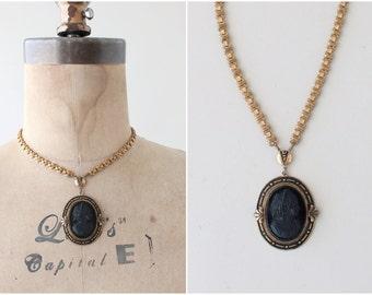 Vintage 1930s Victorian Revival Black Cameo Necklace
