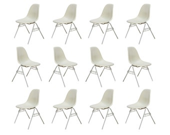 1960s Eames Parchment Shell Chairs on Stacking Base for Herman Miller