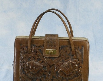 20% OFF Vintage 50s 60s Large Mexican Hand Tooled Leather Purse Handbag, Tobacco Brown