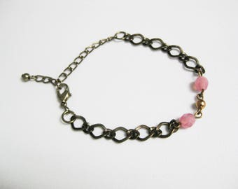 Upcycled Metal Chain Bracelet with Pink Beads