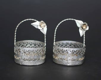 vintage party favor baskets silver metal