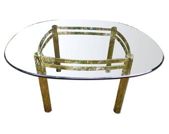 Brass and Glass Dining Table Pace Collection Style