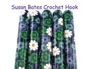 Crochet Hook, Polymer Clay Covered Susan Bates Crochet Hook, Flower Design