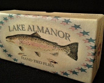 Lake Almanor California fishing lure boxes make great cabin decorations