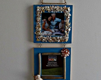 Seashell and Driftwood Frames - 3 Teal Frames with Glass Inserts - 3 x 3 inch photo opening
