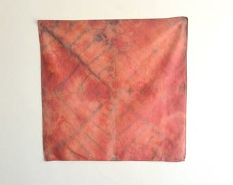 Hand Dyed Coral and Indigo Radial Handkerchief