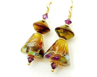 Amber Cone Earrings, Lampwork Earrings, Glass Earrings, Glass Bead Earrings, Gold Dangle Earrings, Unique Earrings, Beadwork Earrings