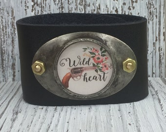 Boho Wild Heart Pistol Gypsy Soldered Leather Cuff