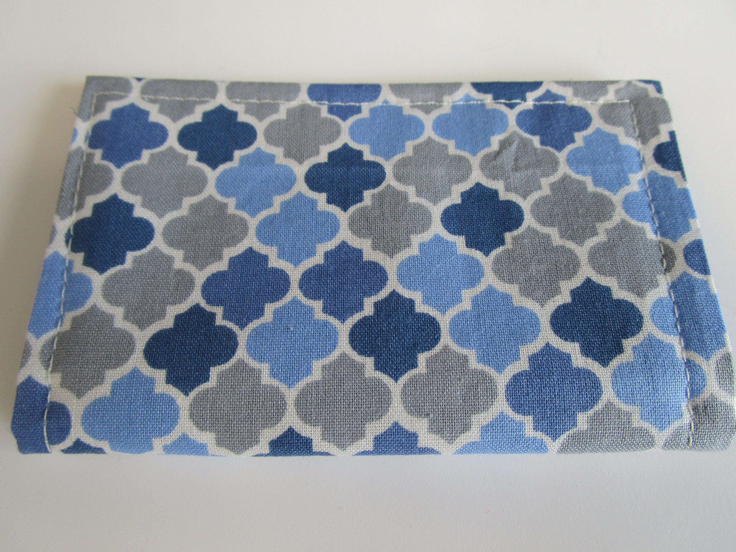 quatrefoil credit card wallet navy gray white fabric moroccan