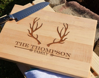 Personalized Engraved Deer Antler Cutting Board Choose From Walnut Maple Cherry or Bamboo