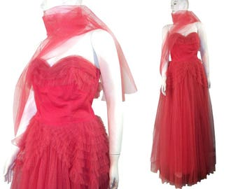 SALE Vintage 1950s Strapless Raspberry Layered Tulle Holiday Party Prom Dress 50s Gown