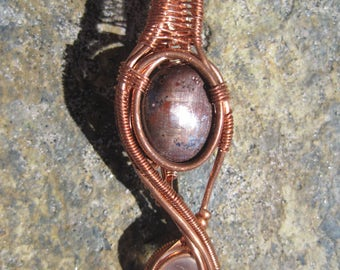 Balance///Star Sapphire, Ruby, Moonstone, and Copper. Wire Wrap, Pendant, Heady Wrap, Handmade, One of a Kind, Art