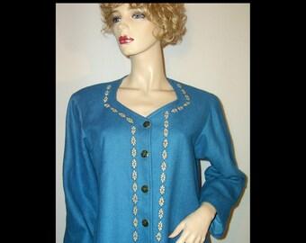 Unusual hand made sapphire blue wool & silk coat ~ Medium Large ~ embroidered flowers sweetheart neckline ~ sweater dress ~ home sewn ~ ooak