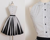 Vintage 50s Dress | Carol King 1950s skirt and top | black and white polkadot two piece xs/s | 5827