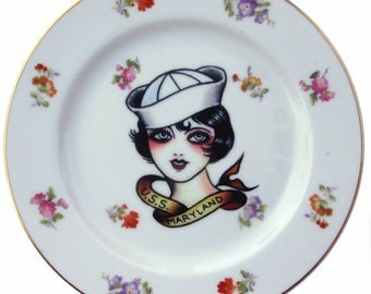 Sailor Girl, Vintage Tattoo Flash Portrait Plate 7.75""