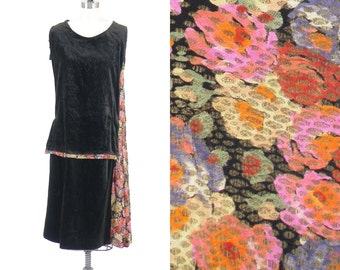 1920s Dress, 20s Flapper Dress, 1920s Floral Lamé and Velvet Dress, Removable Sleeves