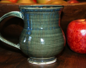 Ceramic Mug / Porcelain Mug / Green with Blues