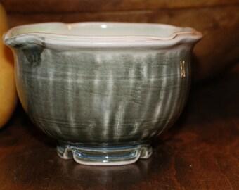 Small Ceramic Bowl / Dessert Bowl / Shades of Green / Double Rim